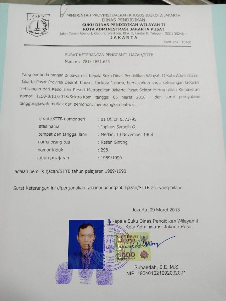 Jr Saragih Legalisir Ijazah
