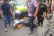 Terseret 10 Meter, Angkot Dan Septor Tabrakan di Simp Jalan Cokroaminoto-Sriwijaya Siantar